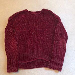 red velvet like cropped sweater